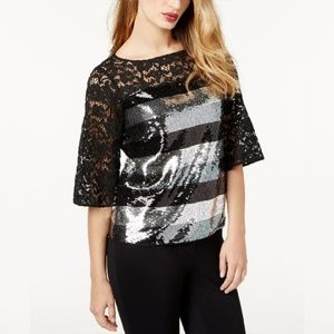 Sachin & Babi Sequined Lace Blouse